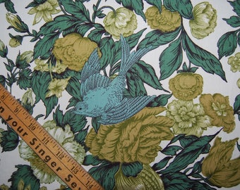Vintage MCM drapery cutter upholstery fabric blue green foliage and bird upholstery cutter fabric