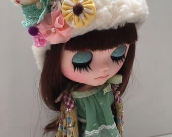 floral - Yoyo pillow blythe hat, blythe helmet, blythe hat, blythe fur hat by JennyLovesBenny