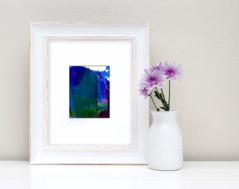 """Blue Abstract Watercolor Painting, Abstract in Mat """"Serene Balance 4"""" Original Art Mystical Spiritual FRAME READY Kathy Morton Stanion  EBSQ"""