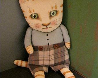 cat ooak art doll,  sandy mastroni , wall art doll ,sweet cat, boy cat , shorts ,shelf art doll, kitty art doll