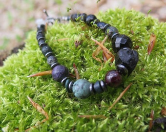 Chunky Dark Stone Bracelet - Turquoise Lava - Purple Green Black -  - Mystic - Gift for Her Crystal - Festival Fashion - Tourmaline - Pewter