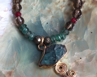 Apatite smoky quartz necklace, multistone necklace, OOAK necklace, beaded goldfilled necklace, dramatic necklace - Easy Lover N2050