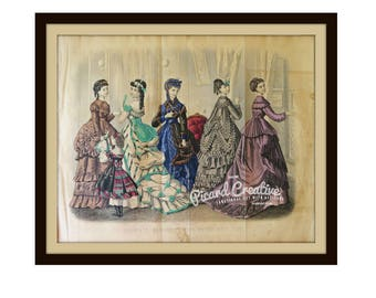 """Victorian Fashion Plate From February 1870 Godey's Lady's Book Plate 11 1/4"""" x 9 1/4"""" ORIGINAL book plate"""