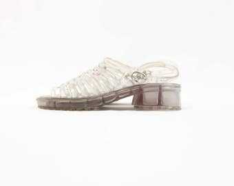 90's Clear Jelly Daisy Platform Sandals in Women's 4 or 5 // Coasters Club Kid Jelly Shoes . Summer . Silver Grey . Narrow . Tiny Feet