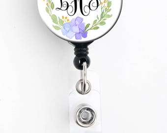 Retractable ID Badge Holder - Personalized Monogram - Lilac Floral - Badge Reel, Steth Tag, Carabiner, Lanyard