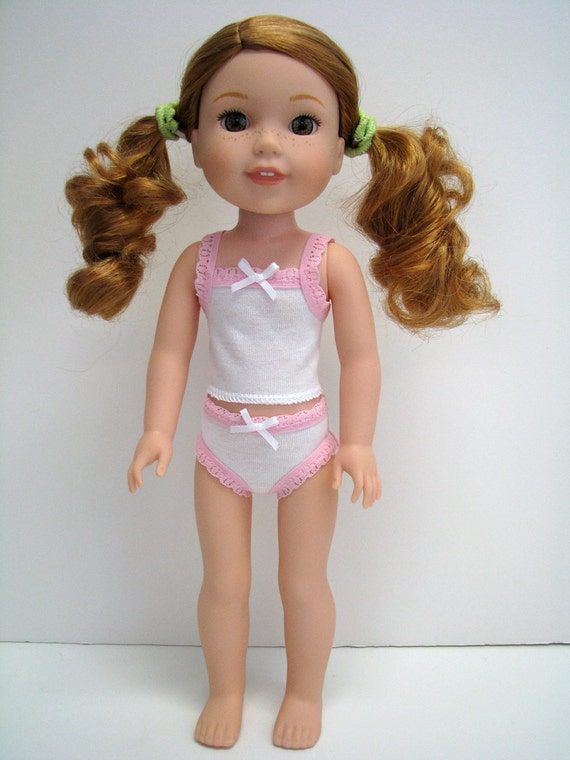 """14 Inch Doll Clothes - Fits Like Wellie Wisher - 14"""" Doll Underwear - 14.5"""" Doll Panty - White panty -  Pink Lace - American - Doll Boutique"""