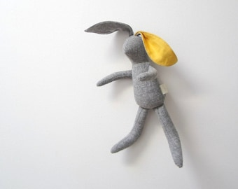 Small Bunny Rabbit doll soft fabric bunny baby toddler grey wool Bright Yellow linen unique OOAK upcycled eco toy bubynoa small Bunny