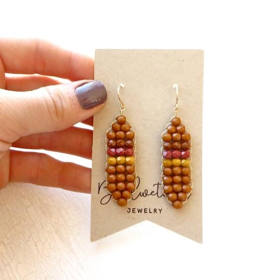 Patchwork Earrings > Yellow Ochre
