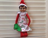 Reversible apron and oven mitt for holiday elf - elf accessories | baker | chef | Christmas | doll