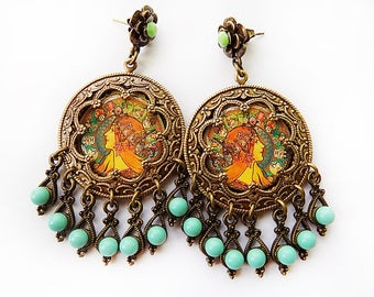 Gypsy Earrings, Zodiac Earrings, Mucha Earrings, Art Nouveau, boho chic, bellydance jewelry, pagan earrings, turquoise green, earrings, gift