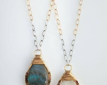 Teardrop Wrapped Groove Necklace- Long