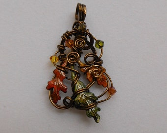 Autumn Oak Leaves Pendant -- Sculpted Antique Brass Wire, Red-Orange, Yellow, Green Changing Oak Leaves, Swarovski Crystals