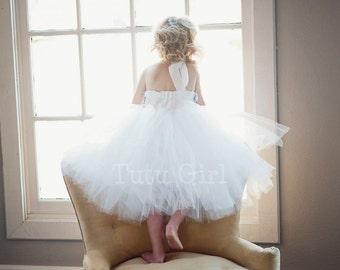 Flower Girl Tutu  Dress, Gray White Tutu Dress Chiffon Roses - SEWN Ivory, White, Off White for Girls, Toddler Flower Girl Dress, Baby Dress