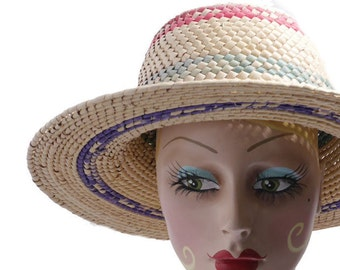 Vintage Woven Straw Colorful Hat// Sun Beach Hat // Summer 80's Hats // 203