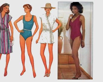 Vintage 1980s Misses' Swimsuit and Cover-Up, One Piece Bathing Suit Sewing Pattern Butterick 6462 80s Swimsuit Pattern Size 10 UNCUT