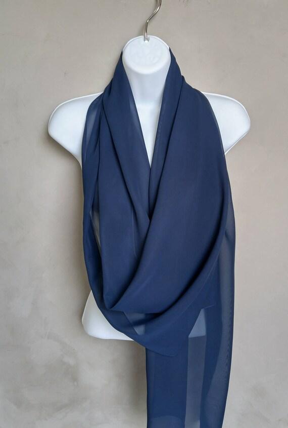 Navy Blue Sheer Chiffon Scarf Wrap