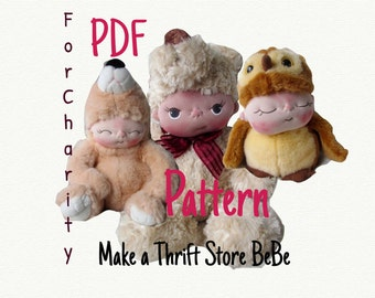PDF Pattern- How to Make a Thrift Store BeBe Baby Doll Stuffed Animal For Charity