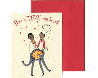 pizza my heart a gay valentines day card lgbt greeting card queer mid century card by