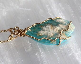 Sea Coral Agate Gold Wrap Pendant