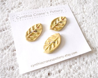 Set of 3 Porcelain Clay Buttons, Handmade Leaf with Hand Stamped Detail, Lemon Yellow with Orange Glaze Detail