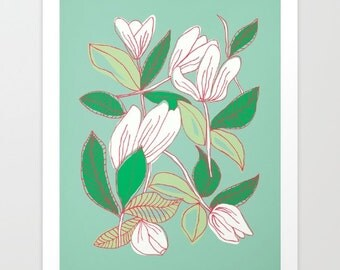 Flower illustration fine art print- wall art- mint green- white- pretty wall decor- floral wall home decor