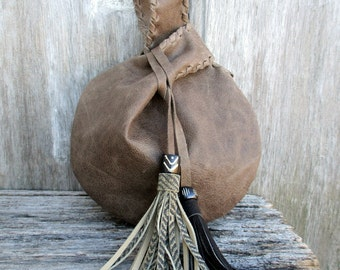 Driftwood Leather Wristlet with Tassels  by Stacy Leigh