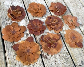 Leather Flower Brooch Pin Clip in Saddle and Chestnut Brown by Stacy Leigh