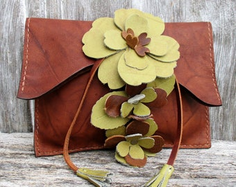 Leather Flower Clutch with Chartreuse Flowers by Stacy Leigh in Marbled Chestnut Brown