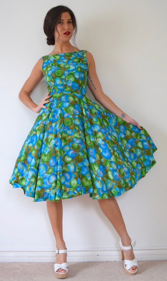 Vintage 50s Underwater Voyage Abstract Bubble Print Open Back Full Circle New Look Dress (size xs, small)