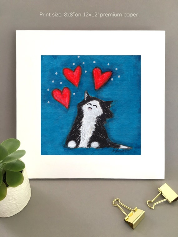 Tuxedo Cat wall art, Anniversary gift for cat lovers, Giclée print of black and white cat with hearts, cat lover gift idea, cat love for her