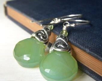 Lemon Lime Earrings, Sterling Silver Dangle, Wirewrapped Green Chalcedony Gemstone Briolette Earrings Light Green Gemstone Earrings Teardrop