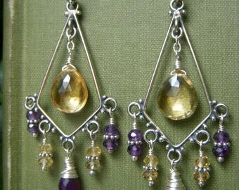 Citrine Chandelier Earrings Sterling Silver, Amethyst and Citrine Chandeliers, Genuine Gemstone Earrings, Wirewrapped Boho Gypsy