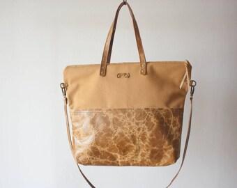 Large Zip Tote in Camel // Large Tote / Laptop Bag / Leather Laptop Bag / Convertible Tote / Leather Tote / Camel Tote / Zippered Tote Bag