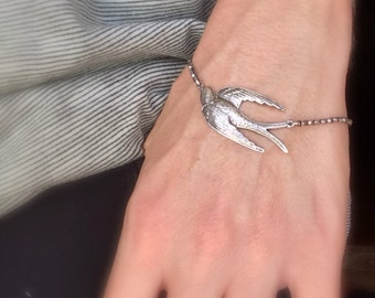 Silver bird bracelet Gift for Her Swooping bird Statement bracelet Antique silver bracelet layering bracelet Oxidized silver bird jewelry