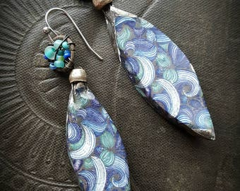 Ceramic, Porcelain, Charms, Drops, Earthy, Funky, Glazed, Crackle, Wire Wrapped, Rustic, Organic, Beaded Earrings