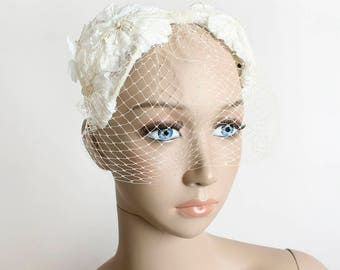 Vintage 1960 Floral Hat - Veil Wedding Hat - Bridal Hat - White Ivory Flower Headband Style - Garden Angel
