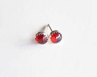 Garnet Earring Studs, Red Garnet Jewelry, January Birthstone, Gemstone Earrings, Birthstone Jewelry, Sterling Silver Hypoallergenic (E277)