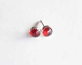 Garnet Earring Studs, Red Garnet Jewelry, January Birthstone, Gemstone Earrings, Birthstone Jewelry, Sterling Silver Hypoallergenic (E277)