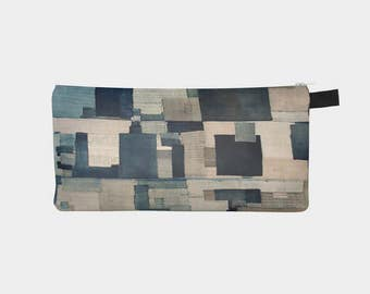 Japanese Boro 3 - Hand Stitched Patchwork Denim Indigo Printed Travel Bag Cosmetic Case Makeup Clutch