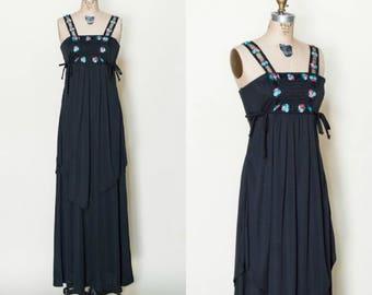 1970s Black Maxi Dress --- Vintage Embroidered Boho Dress