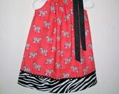Pillowcase Dress with Zebras, Zoo Dress, Zebra Dress, Zoo Party, Zebra Clothes, Zoo Animals, Zebra Stripes, Coral and Black, Summer Dresses