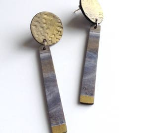 One of a kind, marbled, grey and brass, art jewelry, geometric jewelry