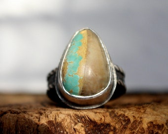 Ready To Ship - Natural Royston Ribbon Turquoise Sterling Silver Ring | Size 7.5 | Nevada  Mine | Gugma Minimalist Jewelry