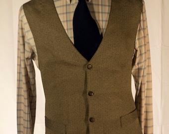 Men's Black Tan // Vintage Vest/Waistcoat // Large // #4002