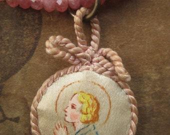 prayers ~ antique angel reliquary gemstone necklace