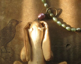 mr. Bunny ~ stuffed rabbit Haskell-era pearls antique spring necklace