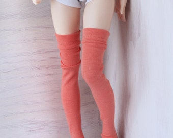 Minifee Doll socks msd bjd clothes Coral thigh high socks MonstroDesigns Ready to Ship