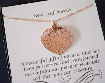 Apsen Leaf Necklace Rose Gold, Christmas Card Gift, Real Leaf Necklace, Pink Gold Aspen Leaf, Gift, Bridesmaid, Friend, Dipped Leaf