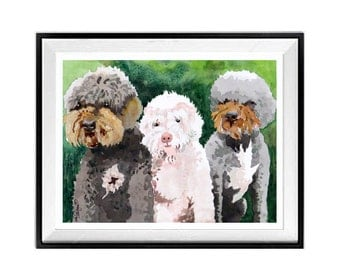 Custom dog portrait Custom cat and dog Portrait Of 3 favorit things 3 Animal portrait 1 portrait Pet owner with pet watercolor portrait
