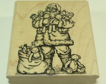 Santa Claus With Gifts Christmas Presents Wood Mounted Rubber Stamp By Stampin' Up Old Fashioned Christmas